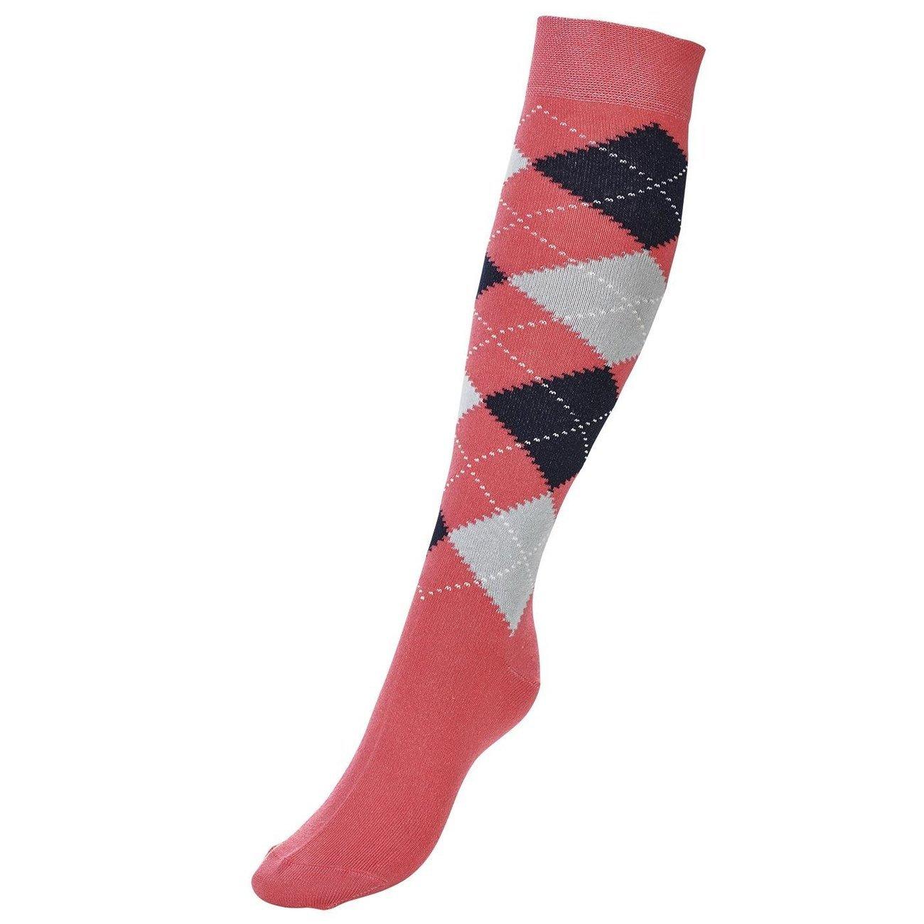 BUSSE Socken Basic Karo III, Gr. 39-42, coral/grey/black