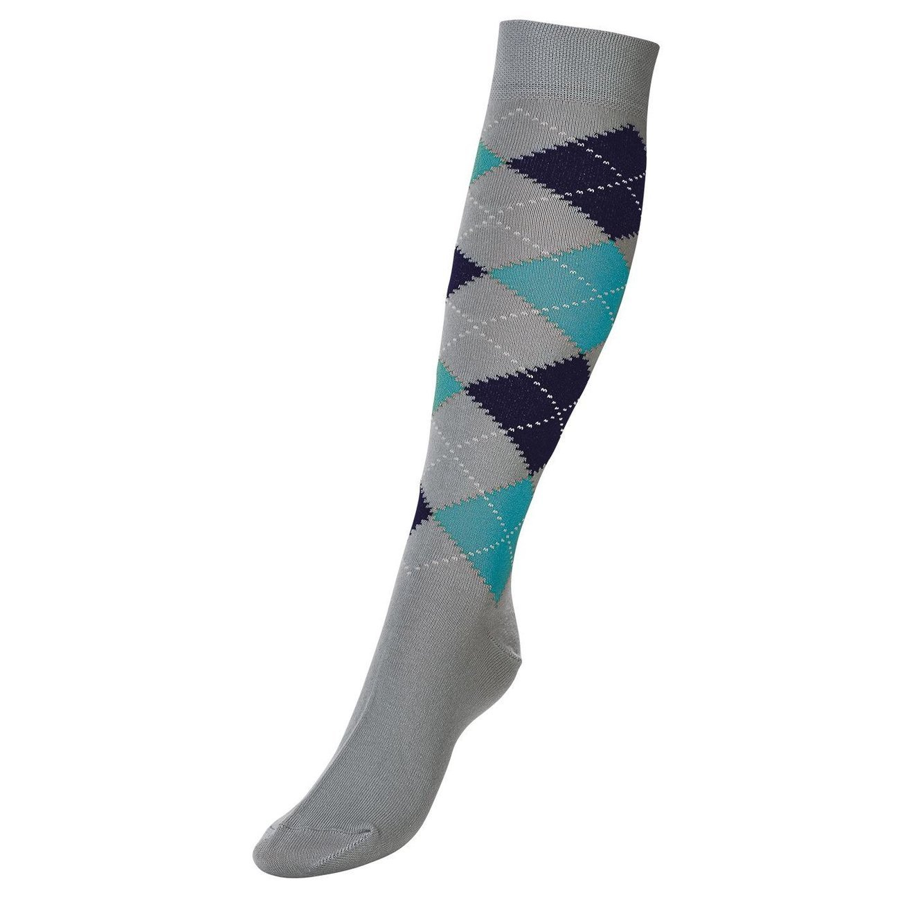 BUSSE Socken Basic Karo III, Gr. 31-34, grey/atoll/navy