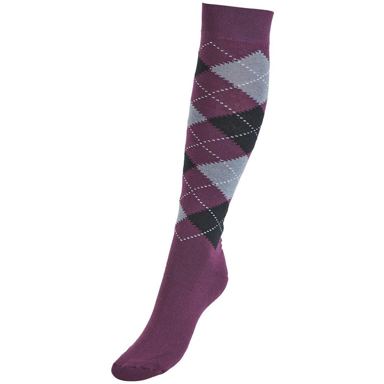 BUSSE Socken Comfort Karo III, Gr. 31 - 34 - plum/black/grey