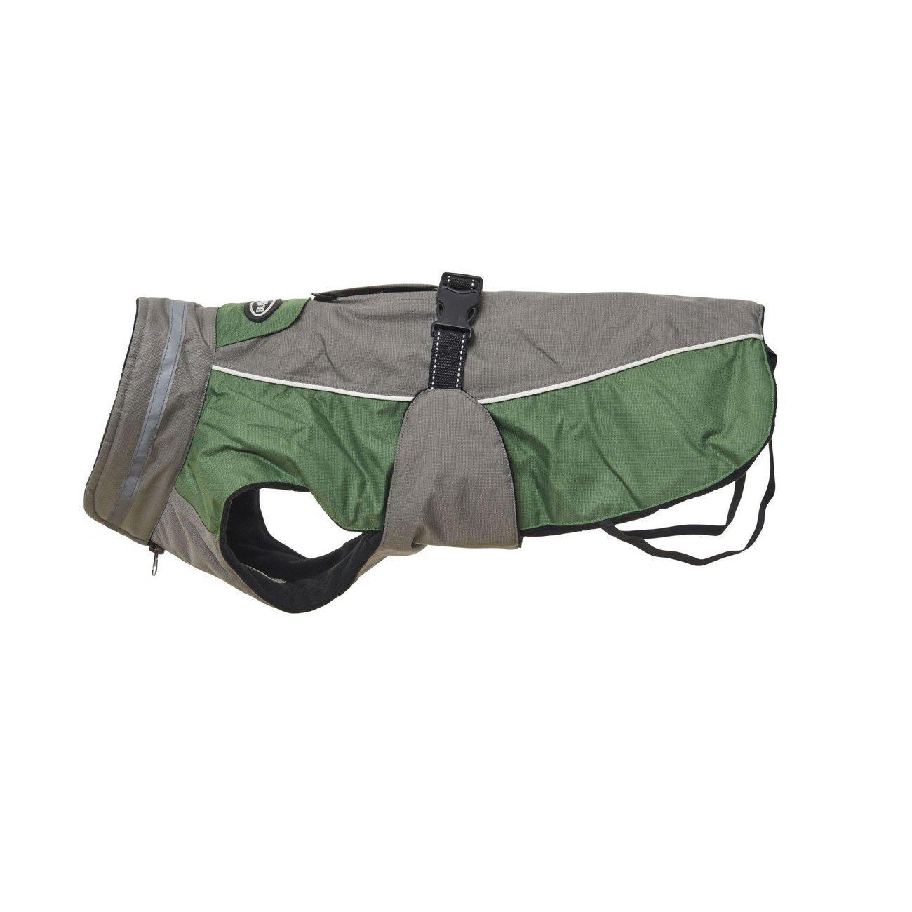 Buster Winterjacke für Hunde, XXL - grau/grün - Rücken 60 cm