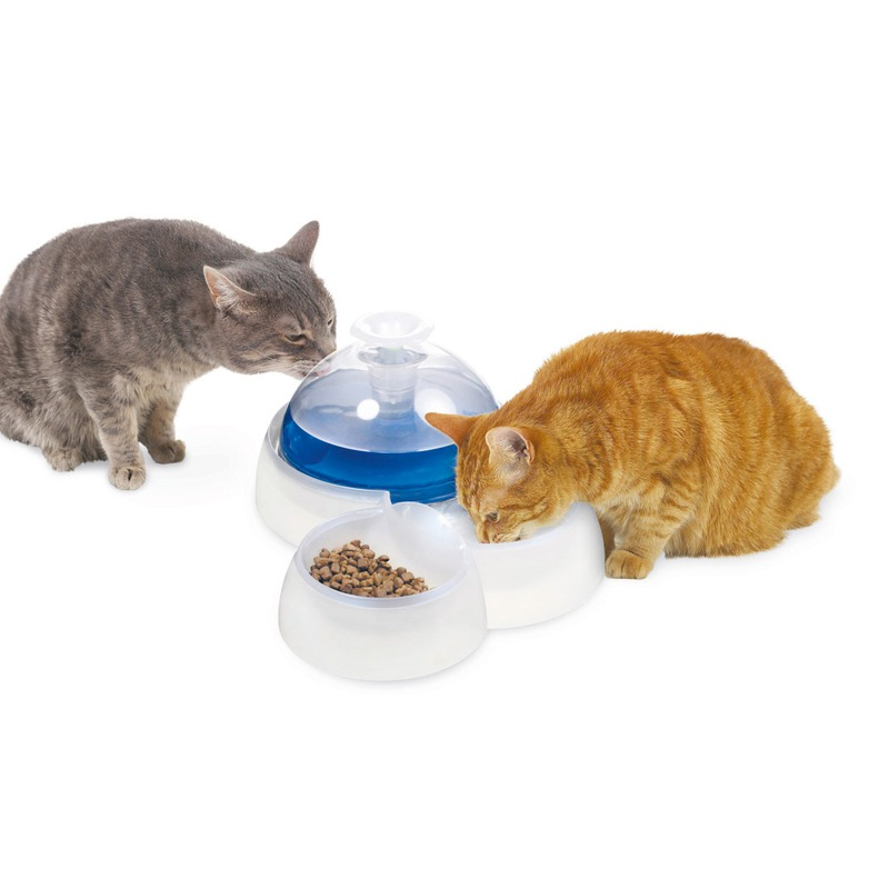 Catit Trinkbrunnen 3L mit Futternapf für Katzen und kleine Hunde, Bild 2