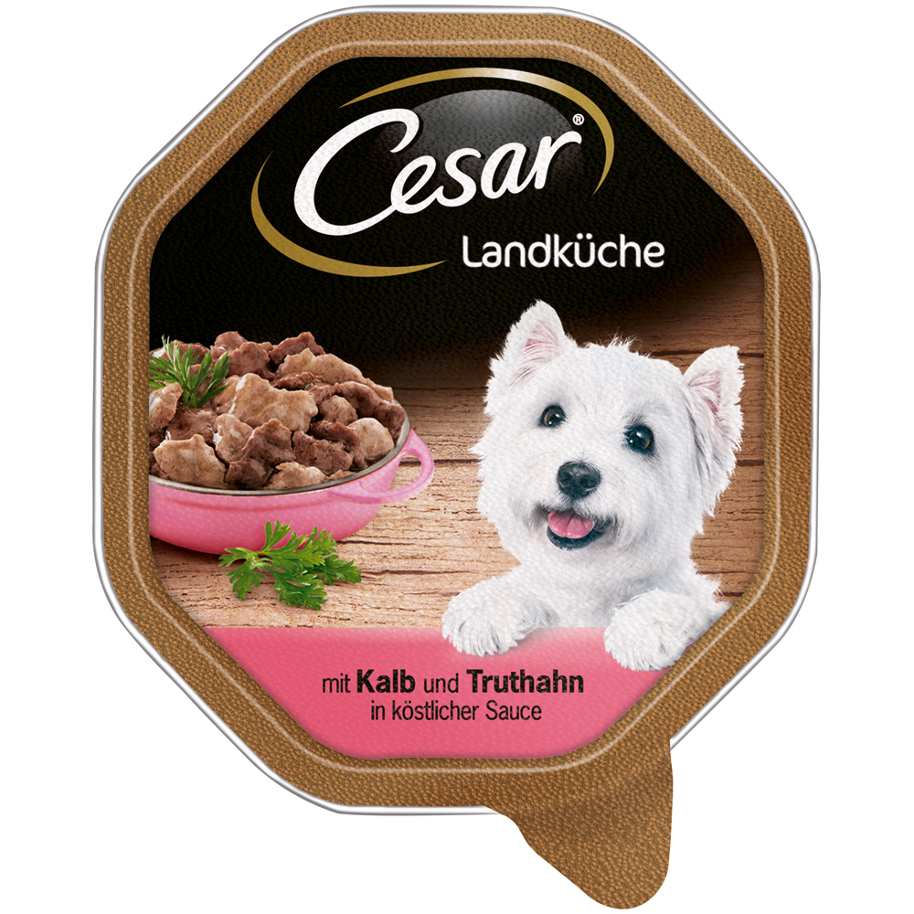 Mars Cesar Landküche Mini-Filets in Sauce Hundefutter, 14 x 150 g mit Kalb & Truthahn in Sauce