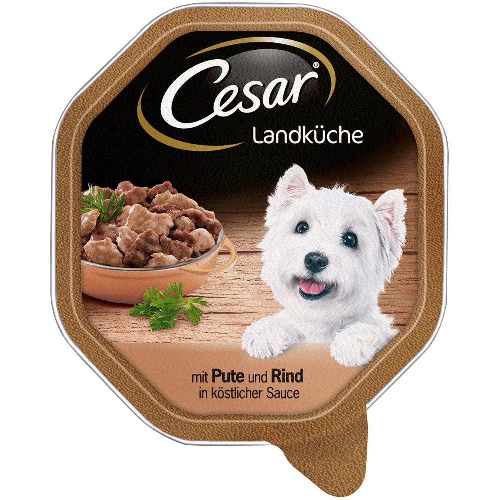 Mars Cesar Landküche Mini-Filets in Sauce Hundefutter, 14 x 150g mit Pute und Rind