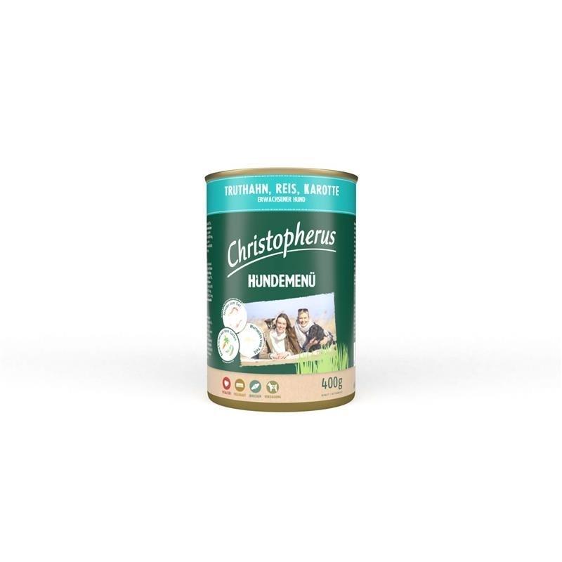 Allco Christopherus Nassfutter Hundemenü Adult, mit Truthahn, Reis, Karotte 6x400g