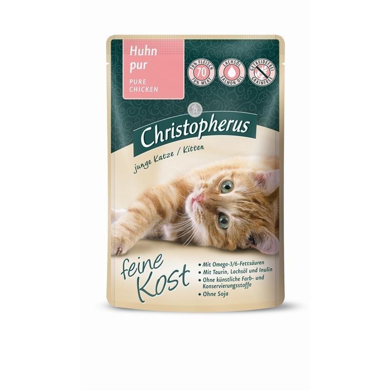 Allco Christopherus Katzenfutter feine Kost Nassfutter Portionsbeutel Kitten, Huhn pur 12x85 g