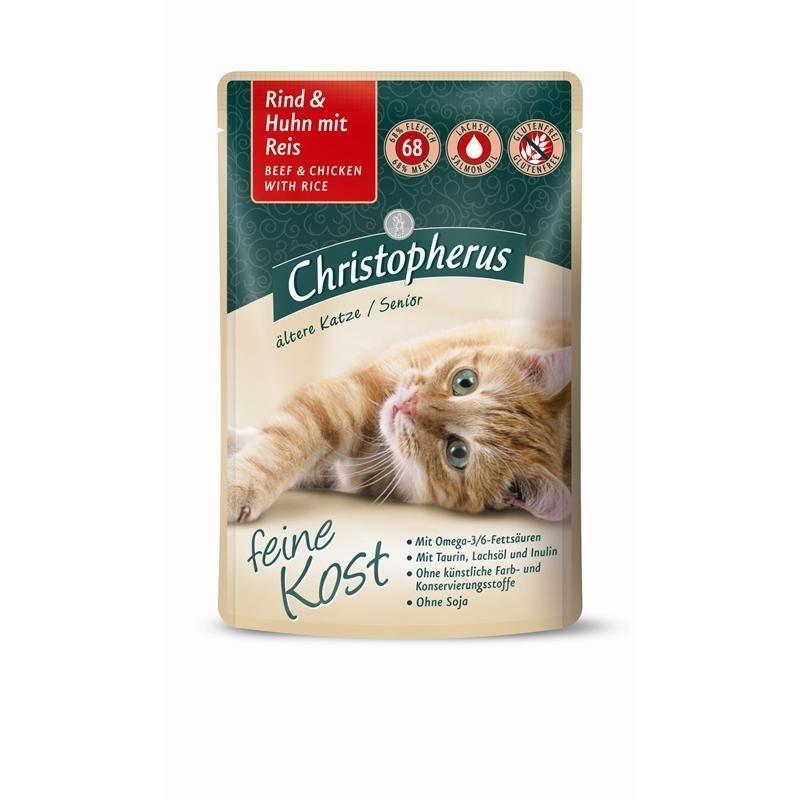 Allco Christopherus Senior Nassfutter für Katzen, Rind + Huhn mit Reis 12x85 g