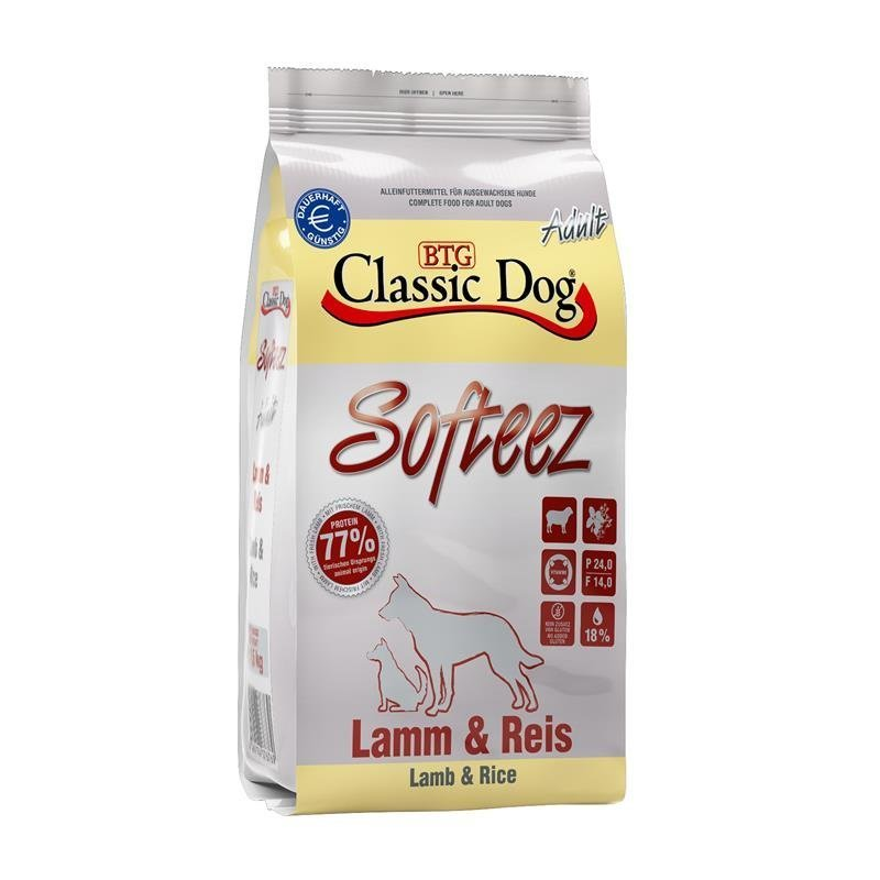 Classic Dog Adult Softeez Lamm & Reis halbfeuchtes Hundefutter, 4kg