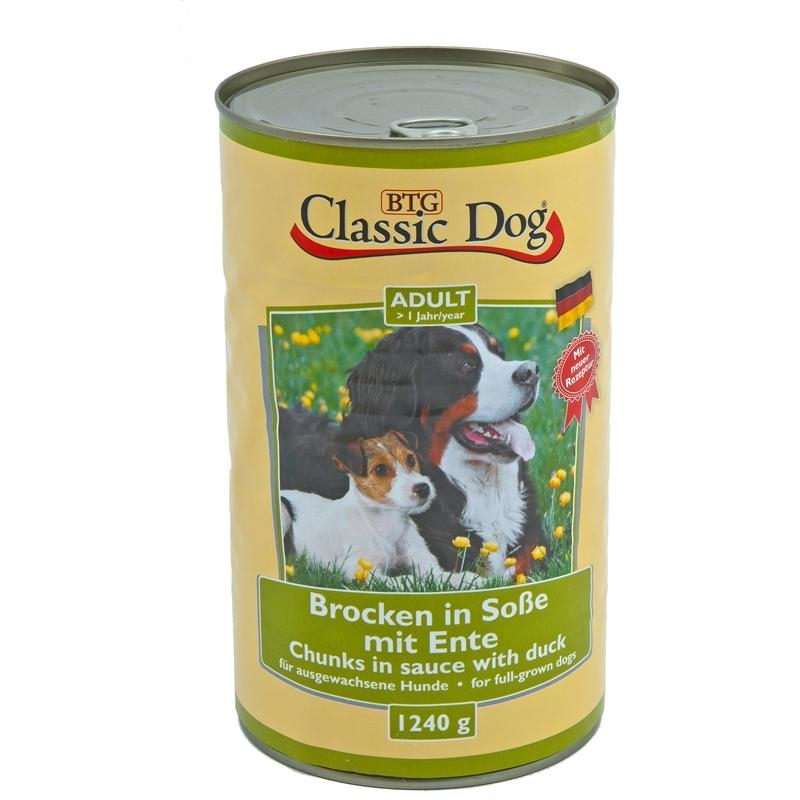 Classic Dog Dosenfutter für Hunde, Ente 6x1240g