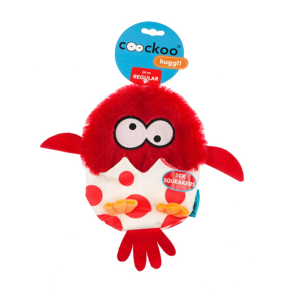 EBI Coockoo Huggl Hundespielzeug mit 10 Quietschern, Rot, 24 x 18 cm