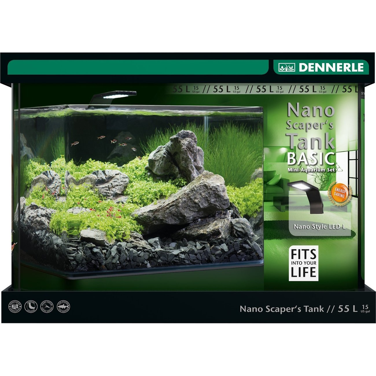 Dennerle Nano Scapers Tank Basic Style LED Aquarium, 55 Liter