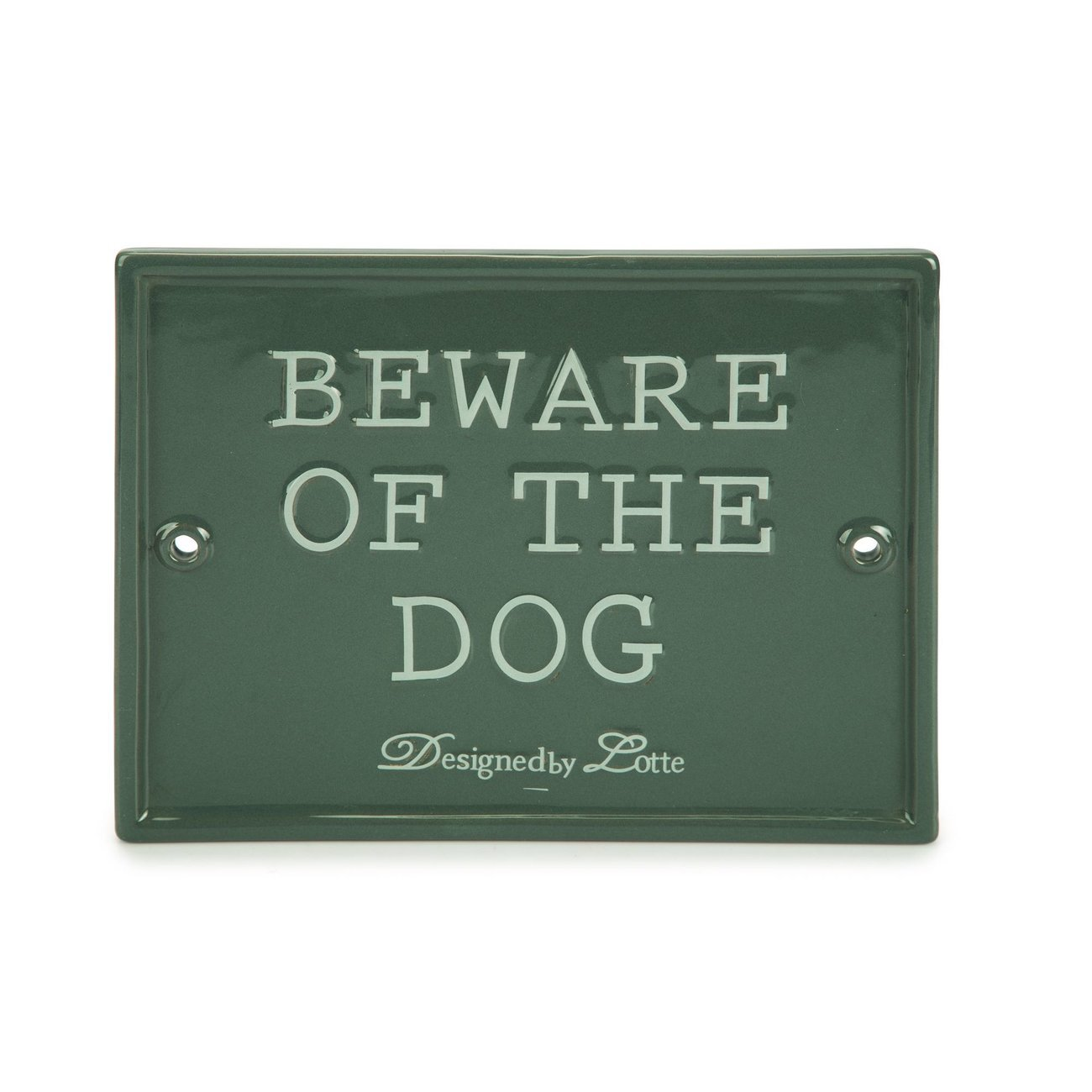 Beeztees Beware of the Dog Keramikschild, 20 x 16 x 1 cm, grau