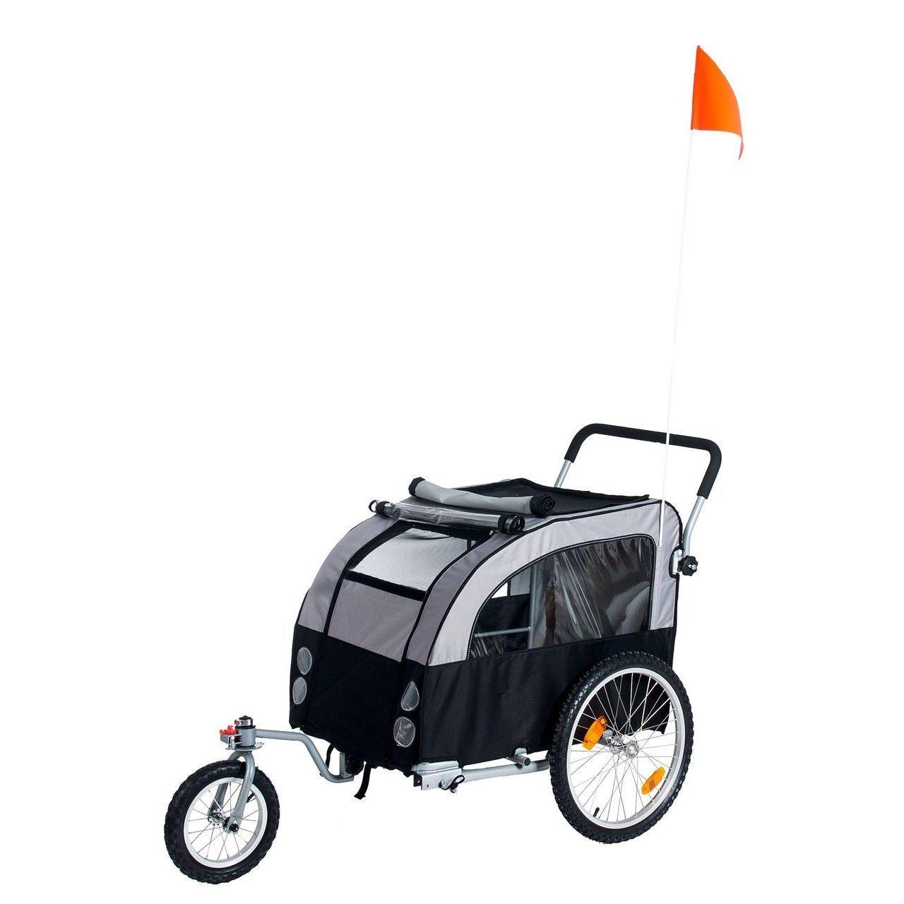 Karlie Doggy Liner Berlin Teflon® Fahrradanhänger für Hunde, L: 148 cm B: 81 cm H: 87 cm grau-schwarz
