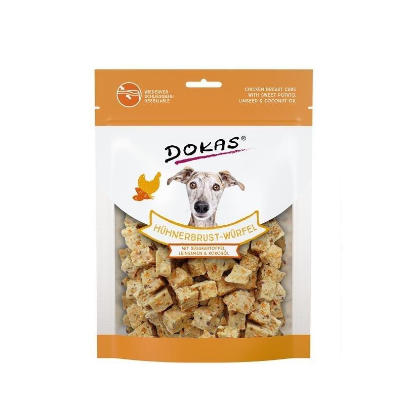 Dokas Hundesnack Hühnerbrust-Würfel mit Süsskartoffel, 150 g