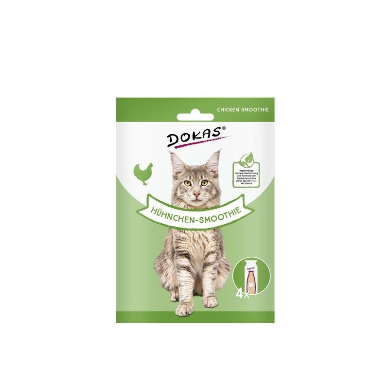 Dokas Katzensnack Smoothie, Hühnchen-Smoothie, 4 x 30 ml