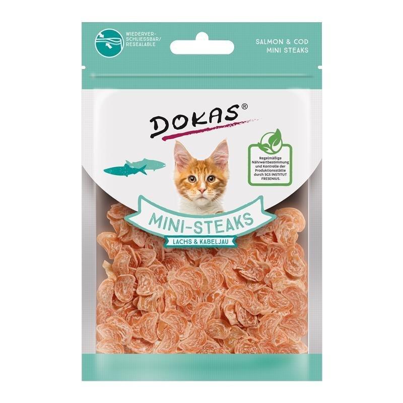 Dokas Snack Ministeak für Katzen, Lachs & Kabeljau 40g