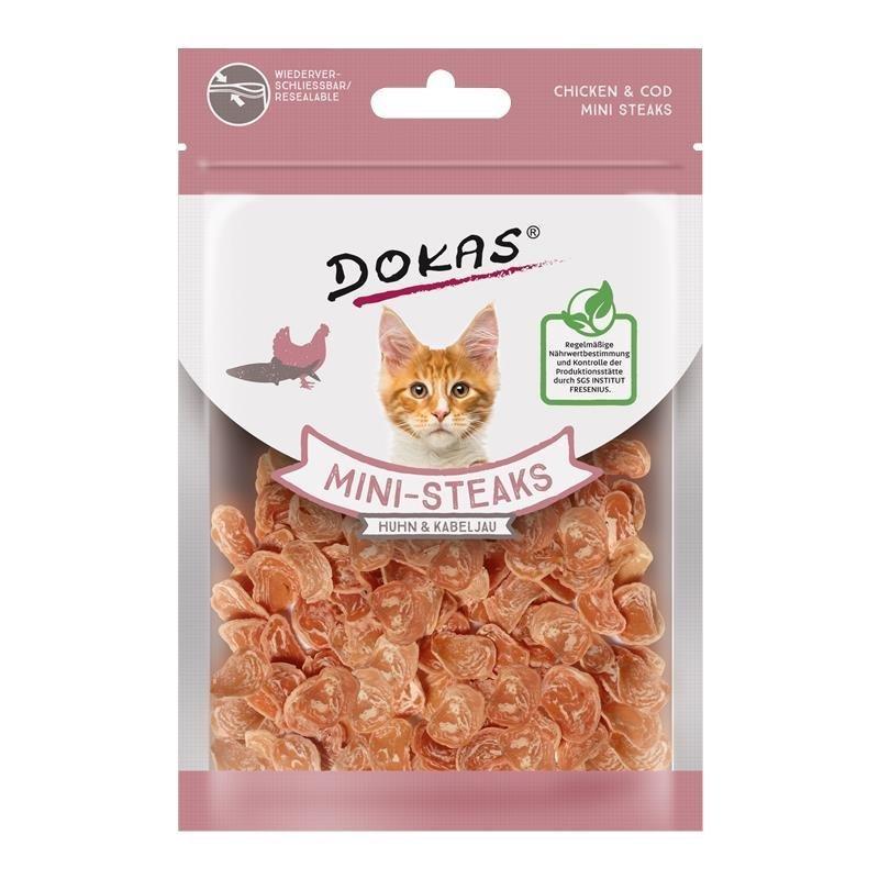 Dokas Snack Ministeak für Katzen, Huhn & Kabeljau 40g