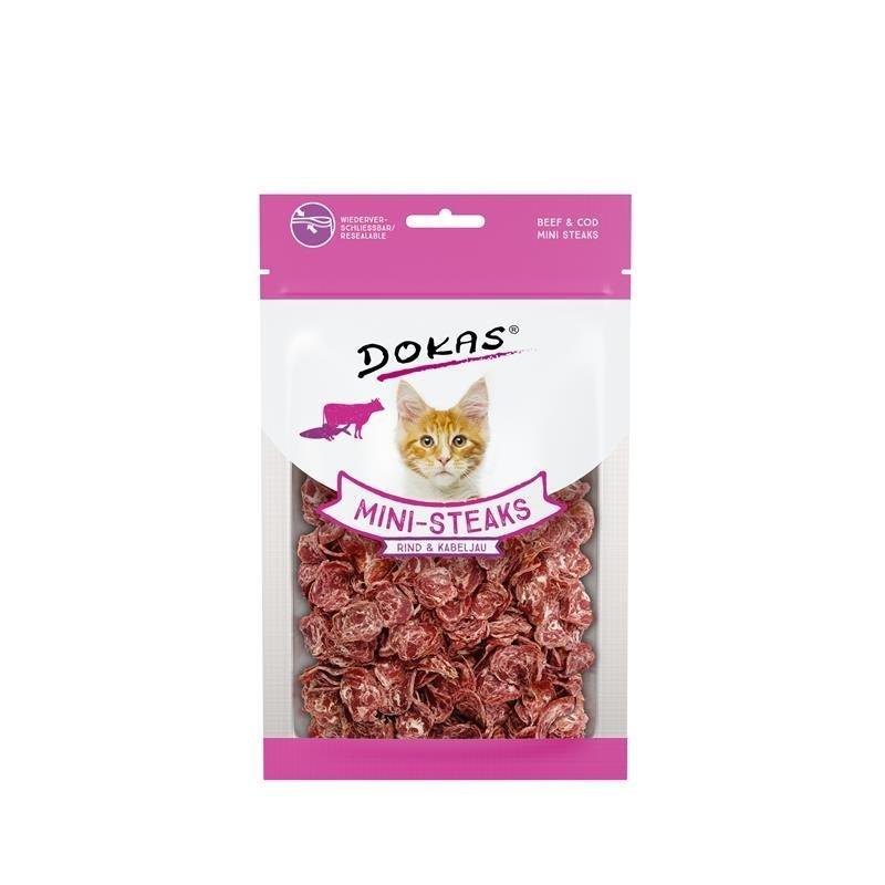 Dokas Snack Ministeak für Katzen, Rind & Kabeljau 40g