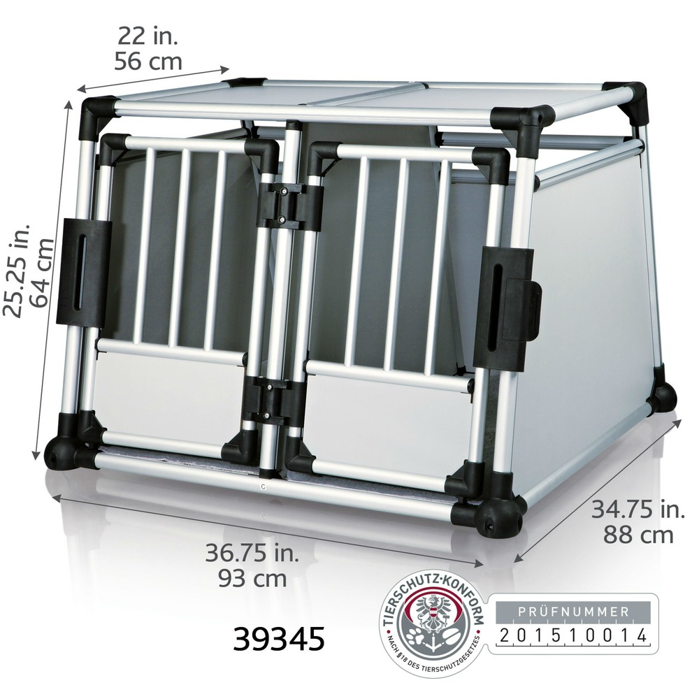 Trixie Doppel Transportbox Alubox Autobox für 2 Hunde 39345, Bild 2