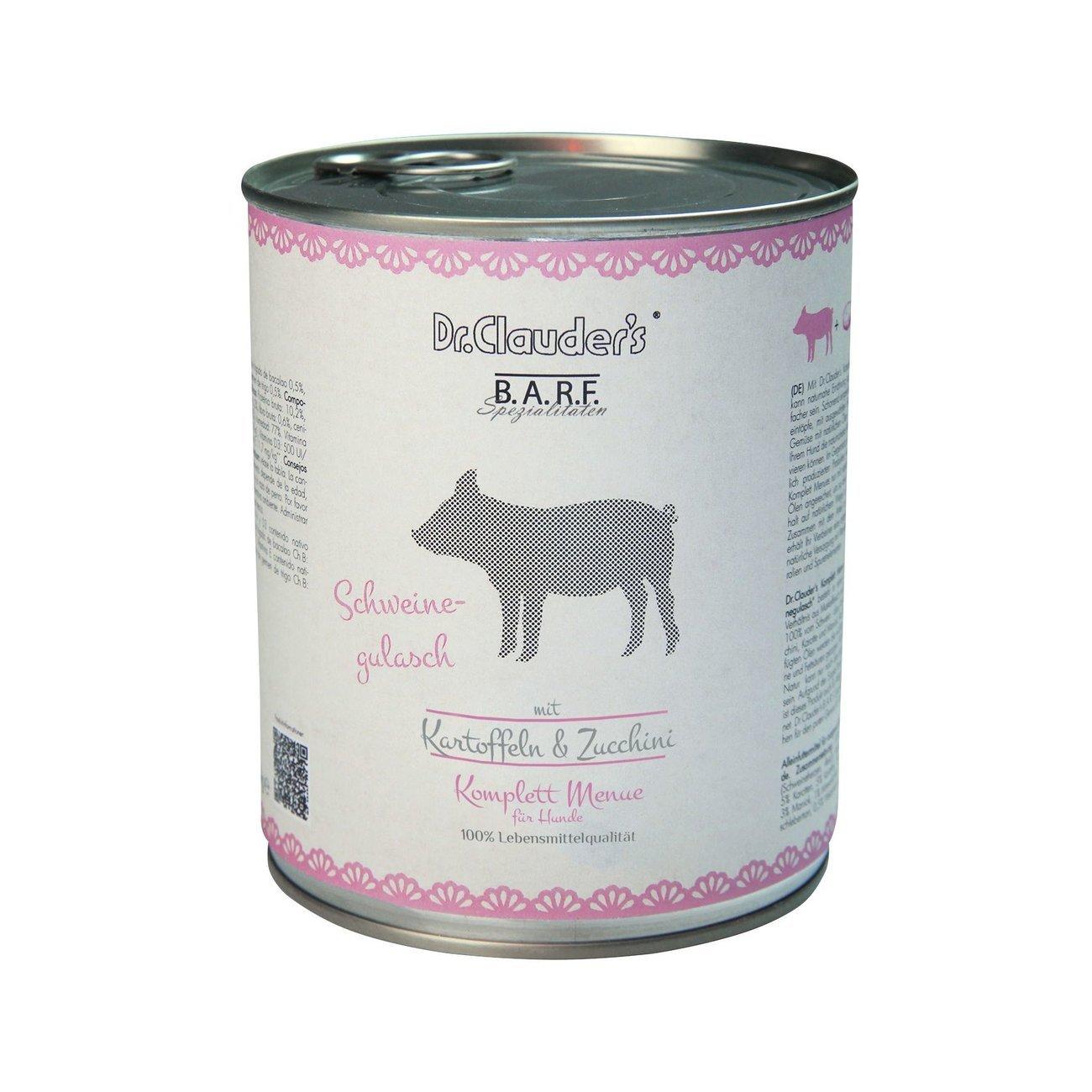 Dr. Clauders Barf Dog Komplettmenü Schweinegulasch, 6 x 800 g