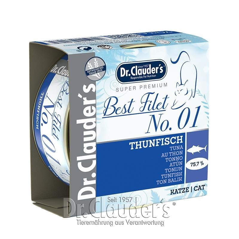 Dr. Clauders Katzenfutter Best Filet, No1: 24 x 70 g, Thunfisch