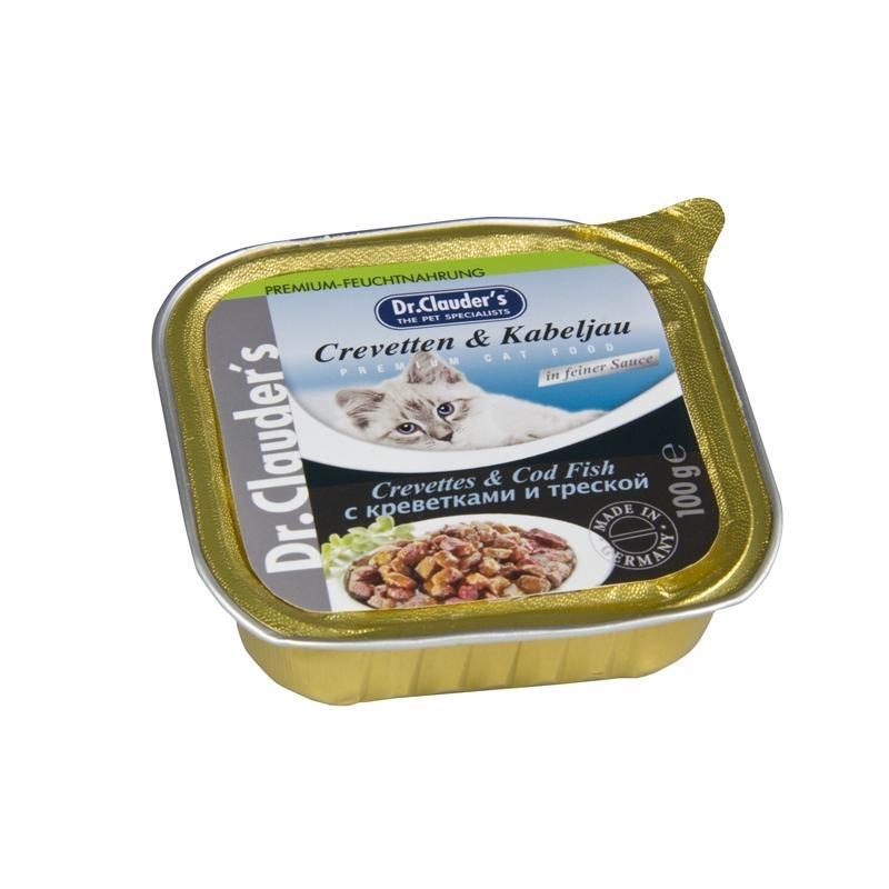 Dr. Clauders Premium Katzenfutter in Schälchen, Crevetten & Kabeljau in Soße 32x100g