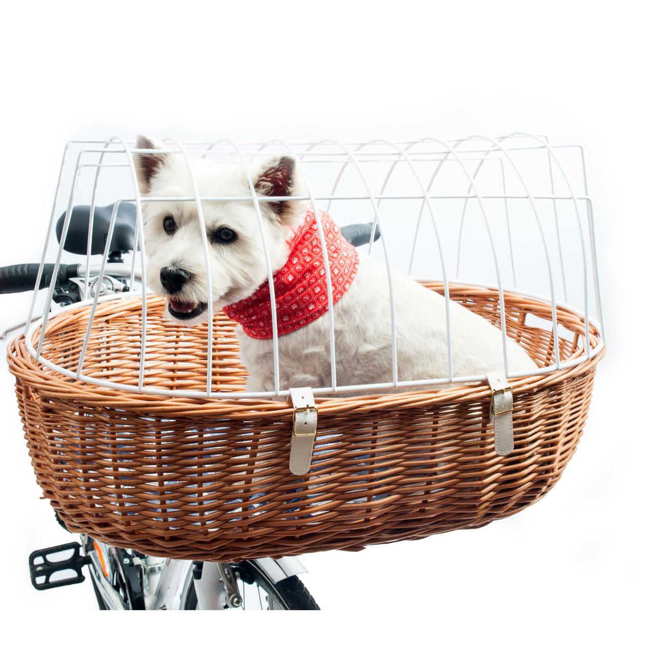Aumüller E-Bike Hunde Fahrradkorb Standard vorne, 52 x 38 x 18/40 cm - inklusive Halterung, natur