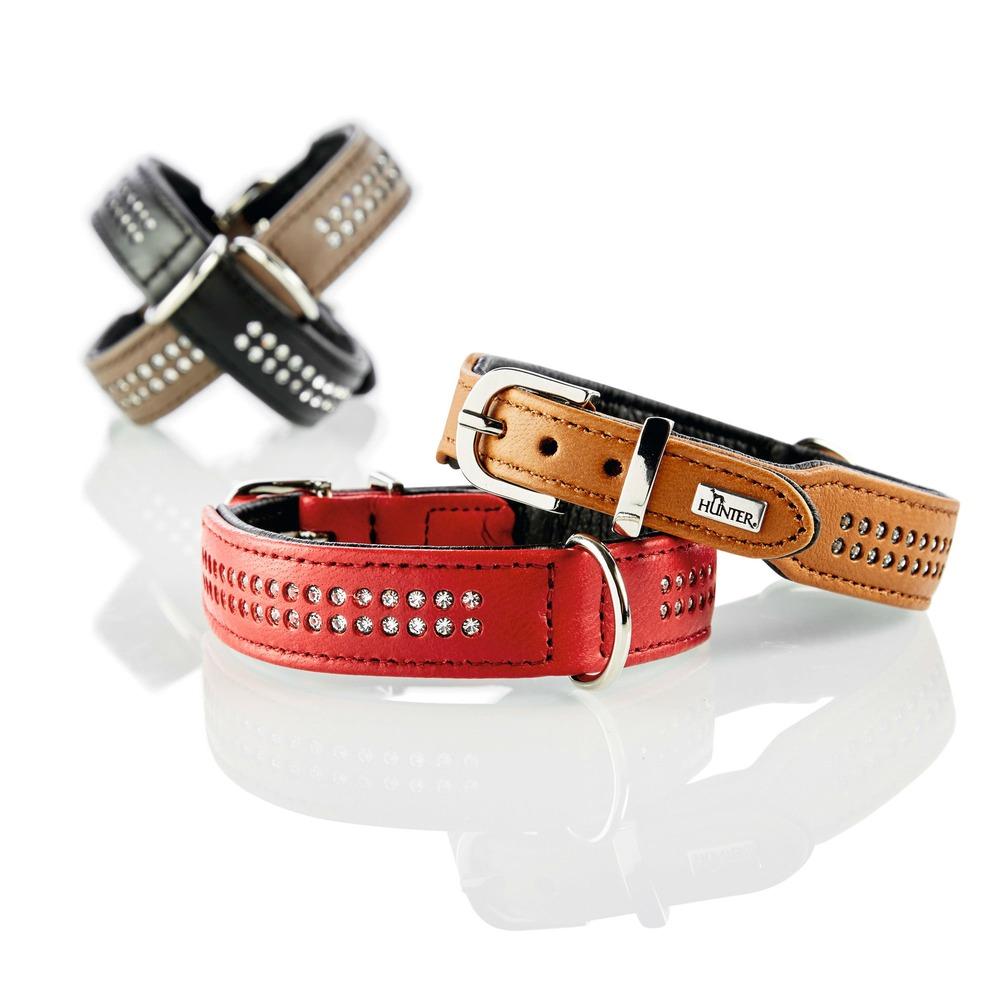 Hunter Elchlederhalsband mit Strass Diamond Petit für kleine Hunde 60154