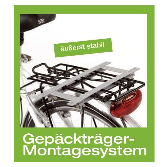 Montagesystem für Aumüller-Fahrradkörbe mit Gepäckträgermontage, Halterung für Gepäckträger