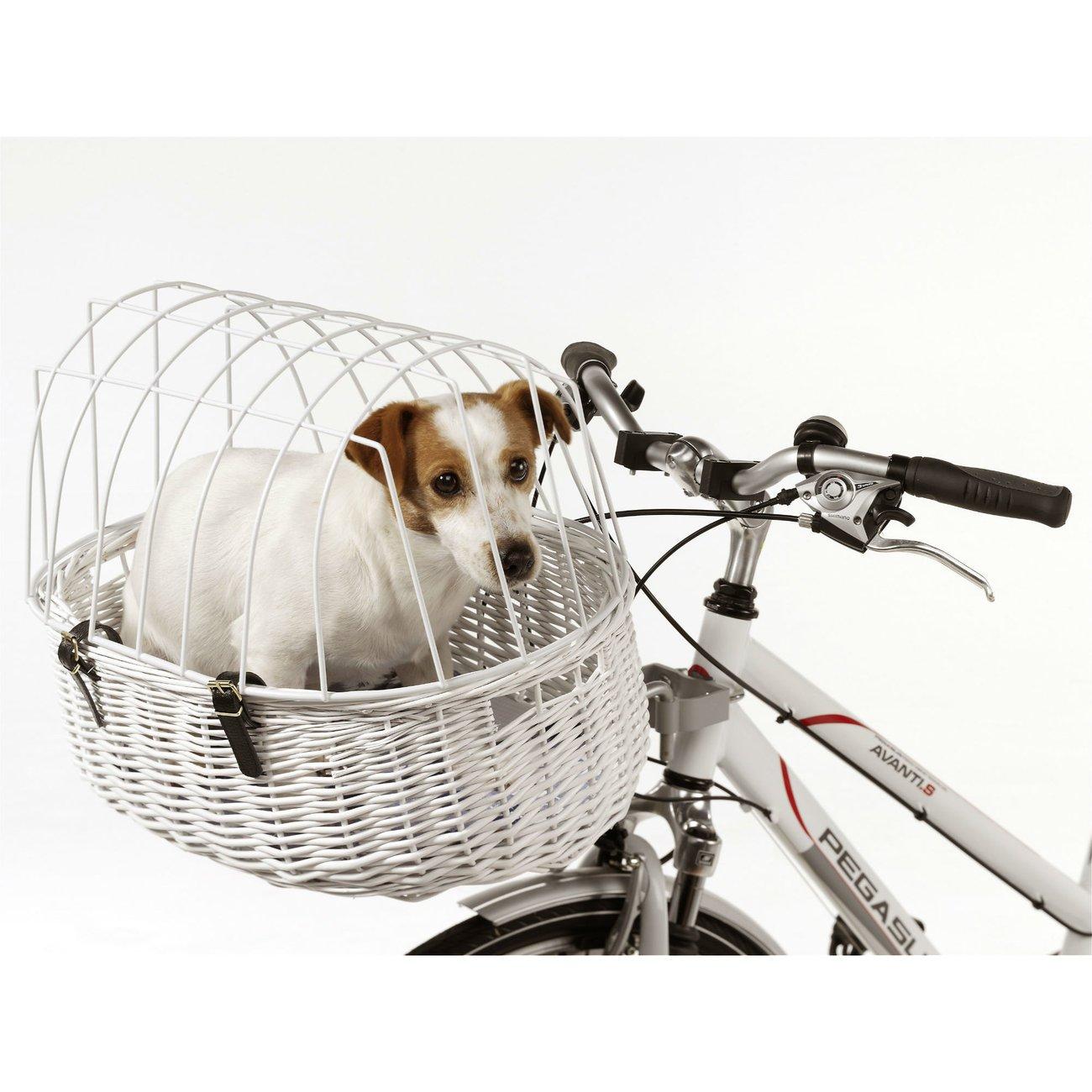 Aumüller Fahrradkorb für Hunde weiß, L 52 cm x B 38 cm x H 18/40 cm, bis 12kg
