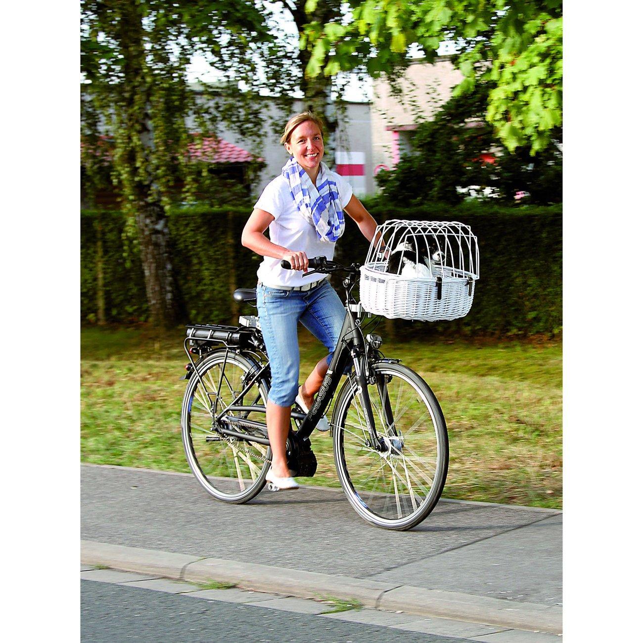 Aumüller Fahrradkorb für Hunde weiß, Standard - 52 x 38 x 18/40 cm - mit Montagesystem