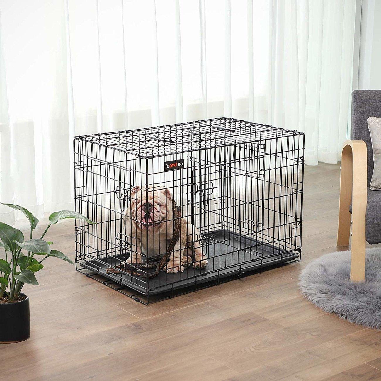 FEANDREA Hundekäfig, Hundebox mit Trennwand, 2 Türen, Bild 2