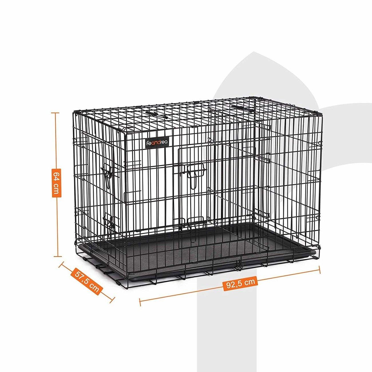 SONGMICS FEANDREA Hundekäfig, Hundebox mit Trennwand, 2 Türen, 92.5 x 57.5 x 64 cm (L x B x H)