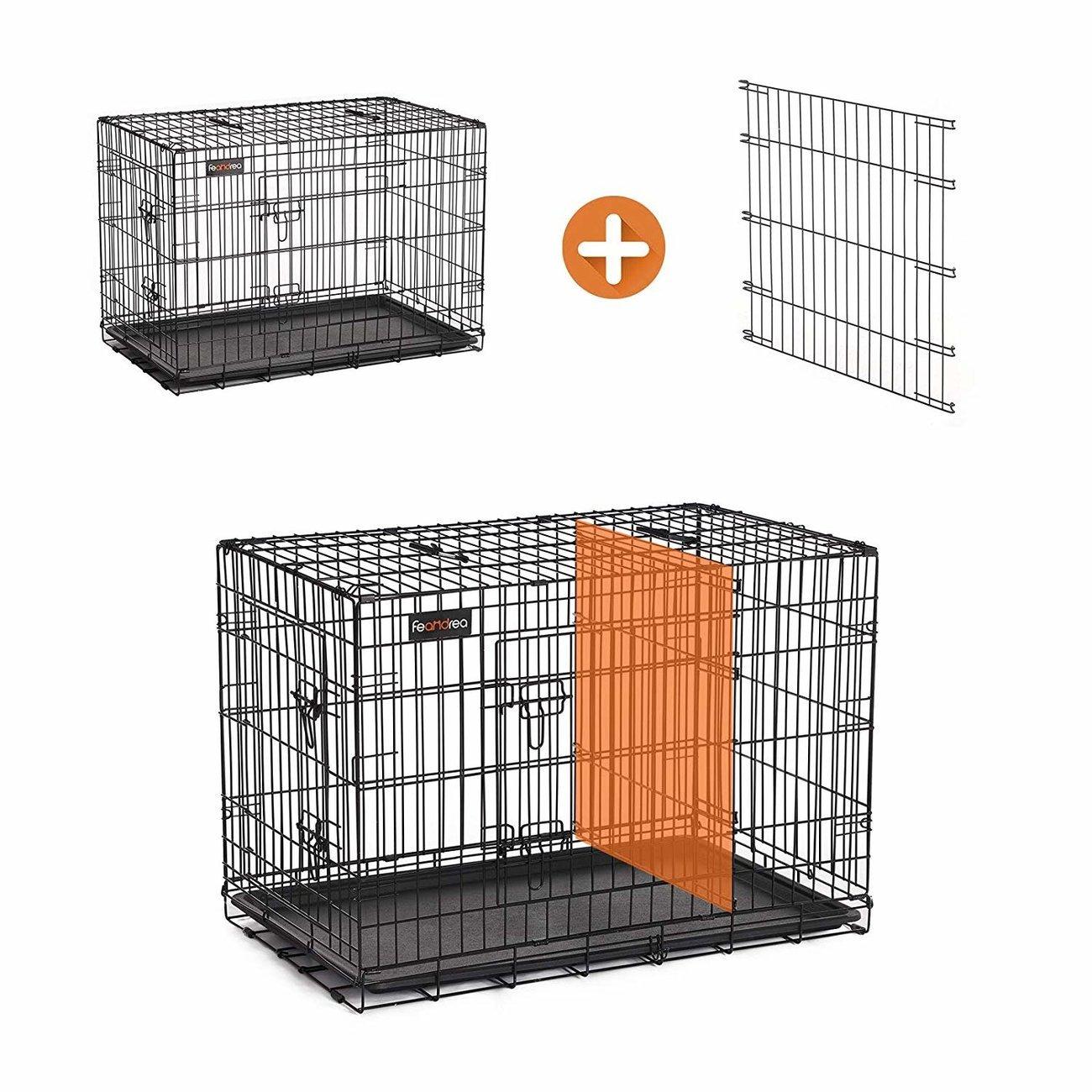 FEANDREA Hundekäfig, Hundebox mit Trennwand, 2 Türen, Bild 4