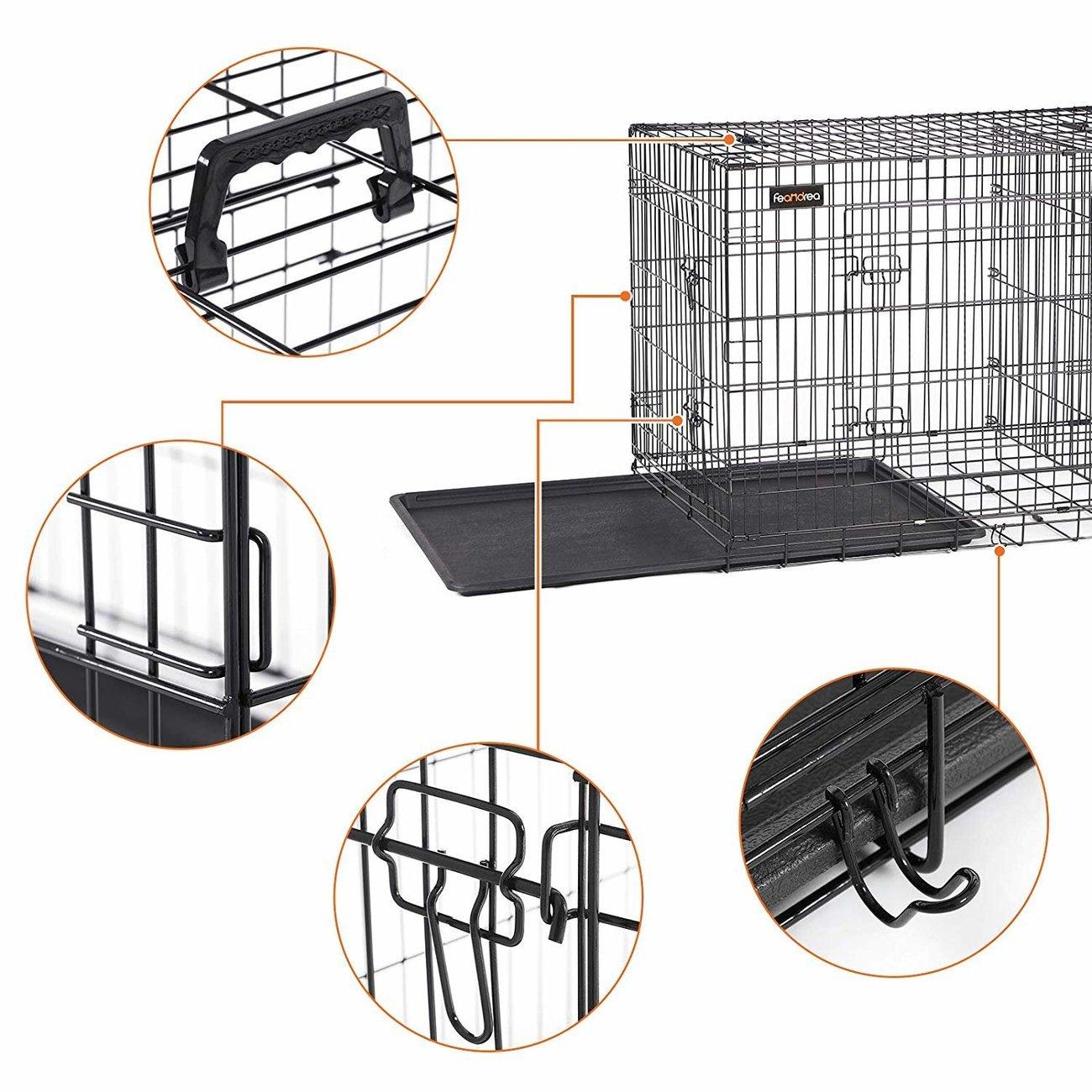 FEANDREA Hundekäfig, Hundebox mit Trennwand, 2 Türen, Bild 5