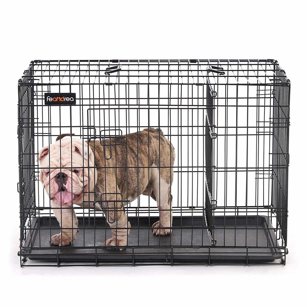 FEANDREA Hundekäfig, Hundebox mit Trennwand, 2 Türen, Bild 6