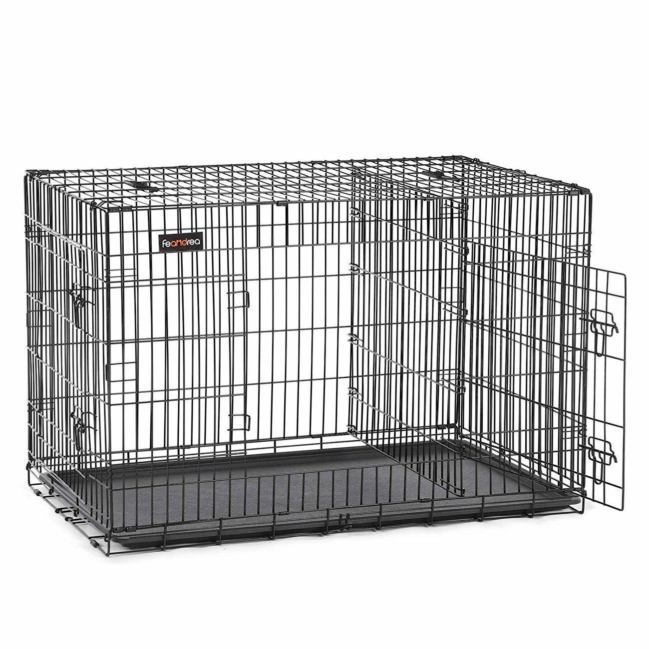 FEANDREA Hundekäfig, Hundebox mit Trennwand, 2 Türen