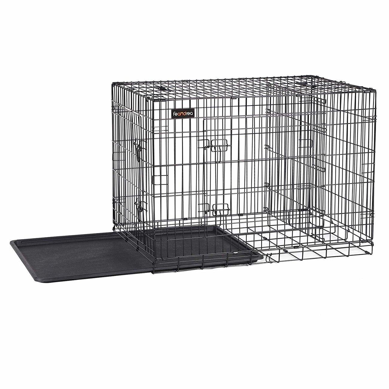 FEANDREA Hundekäfig, Hundebox mit Trennwand, 2 Türen, Bild 8