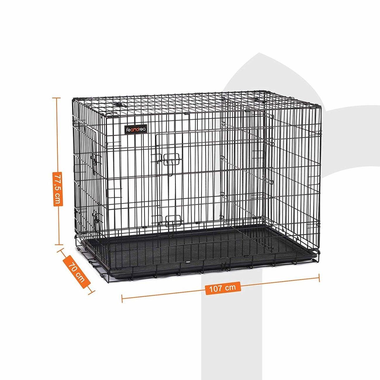 SONGMICS FEANDREA Hundekäfig, Hundebox mit Trennwand, 2 Türen, 107 x 70 x 77.5 cm (L x B x H)
