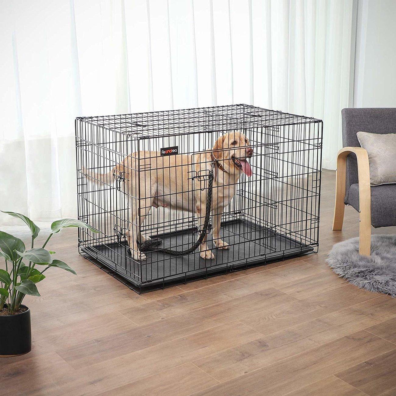 FEANDREA Hundekäfig, Hundebox mit Trennwand, 2 Türen, Bild 13