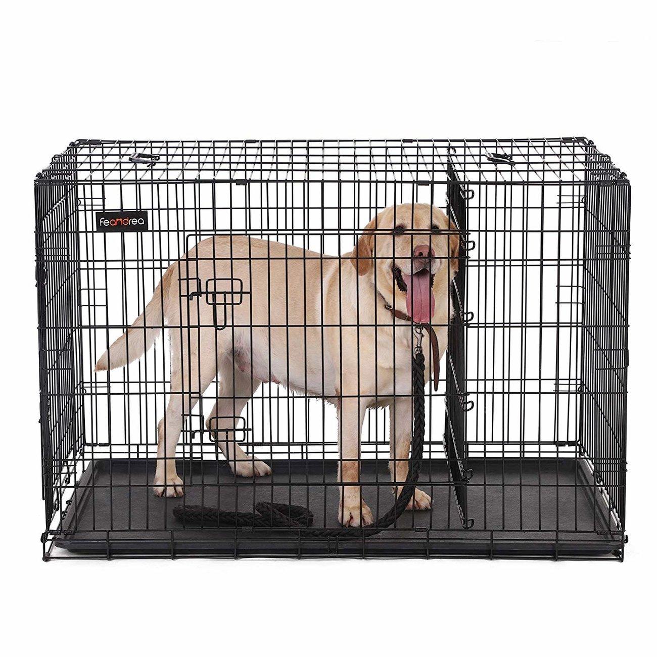FEANDREA Hundekäfig, Hundebox mit Trennwand, 2 Türen, Bild 14