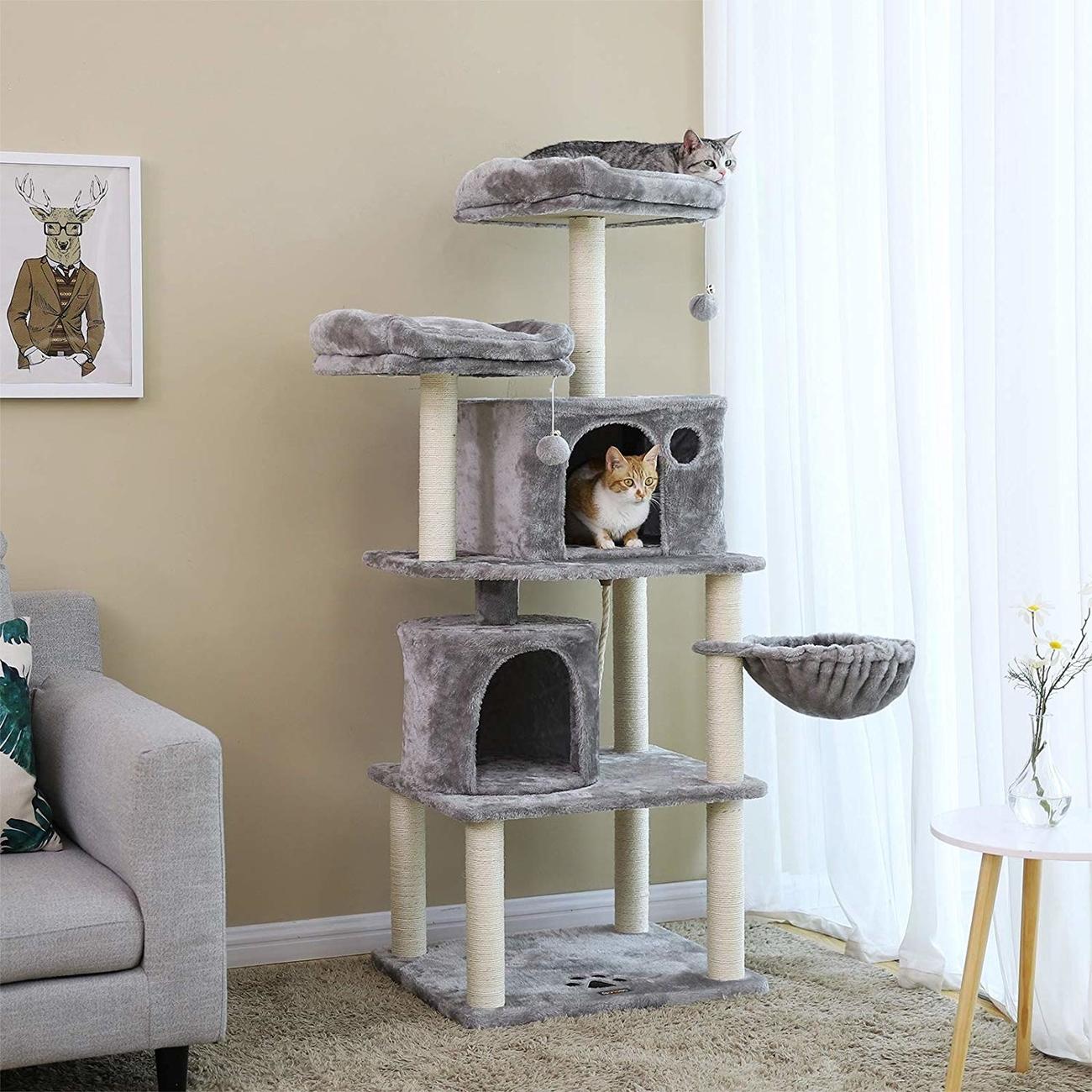 FEANDREA Katzen Kratzbaum mit 2 Höhlen, Bild 14