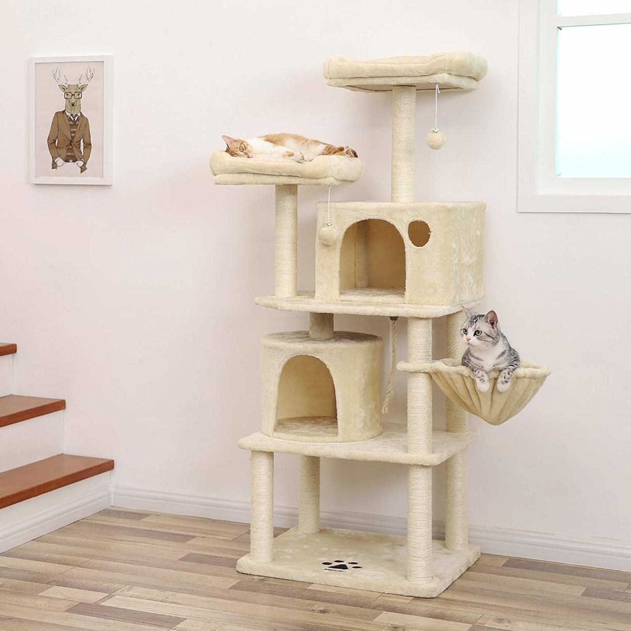 FEANDREA Katzen Kratzbaum mit 2 Höhlen, Bild 15
