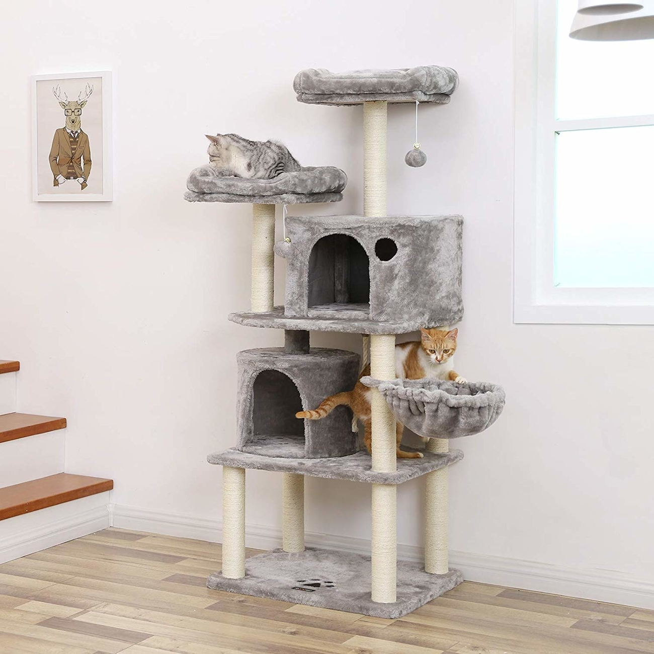 FEANDREA Katzen Kratzbaum mit 2 Höhlen, Bild 17