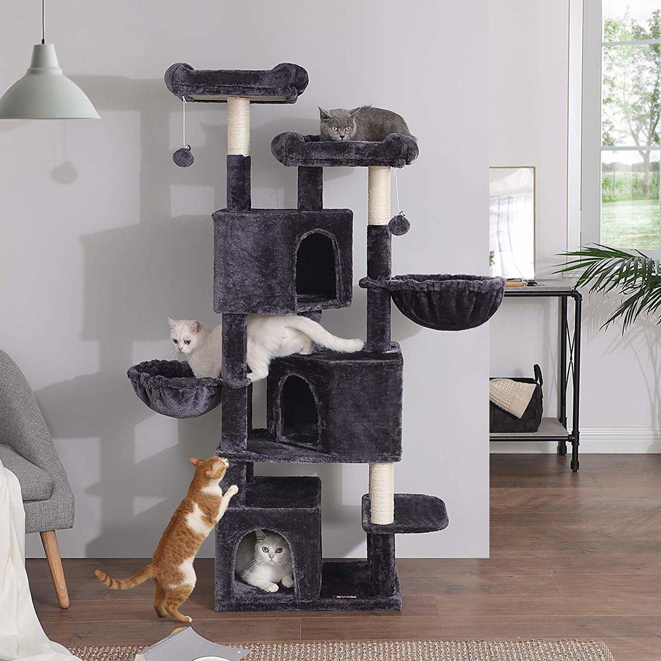 FEANDREA Kratzbaum groß mit 3 Katzenhöhlen, Bild 3