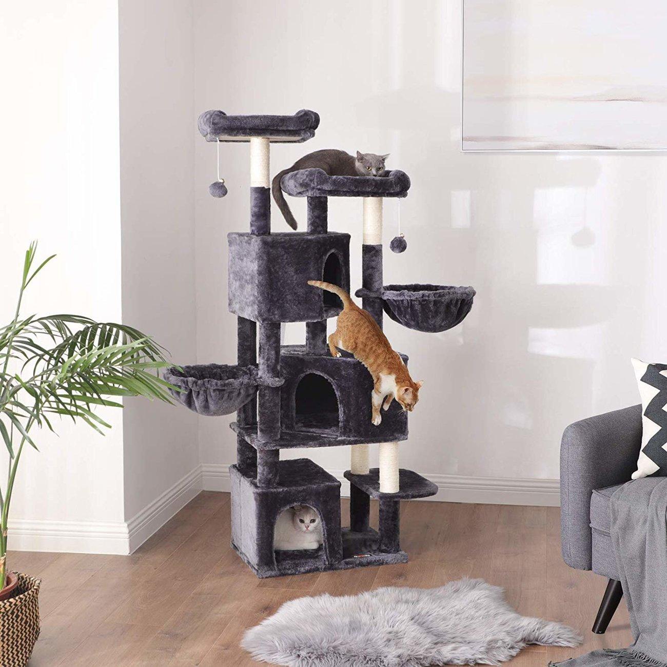 FEANDREA Kratzbaum groß mit 3 Katzenhöhlen, Bild 6