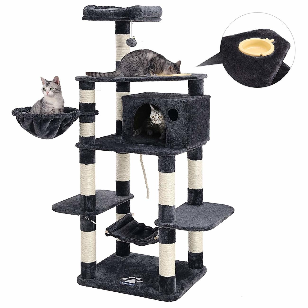 FEANDREA stabiler Kratzbaum mit Katzennapf, Bild 7