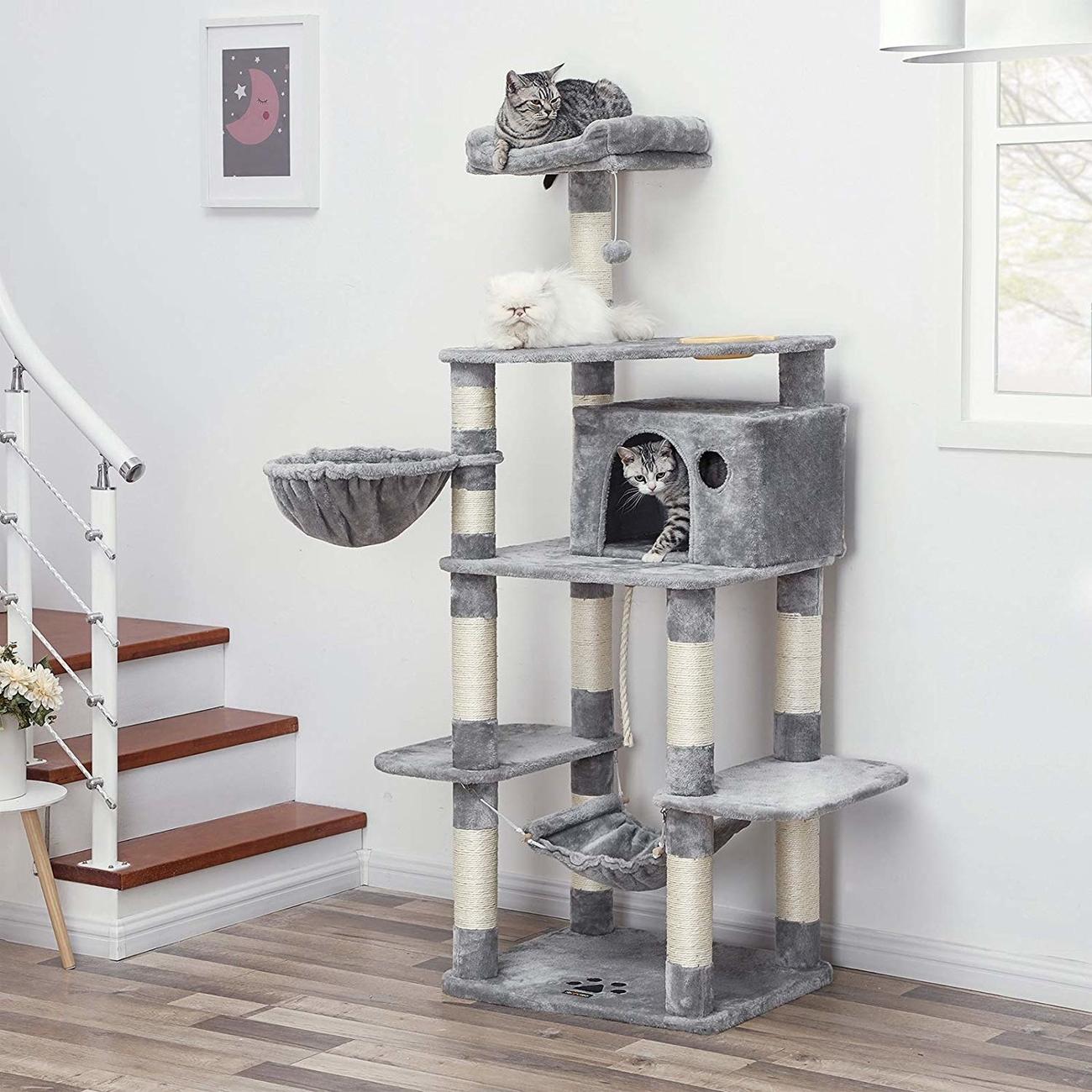 FEANDREA stabiler Kratzbaum mit Katzennapf, Bild 8