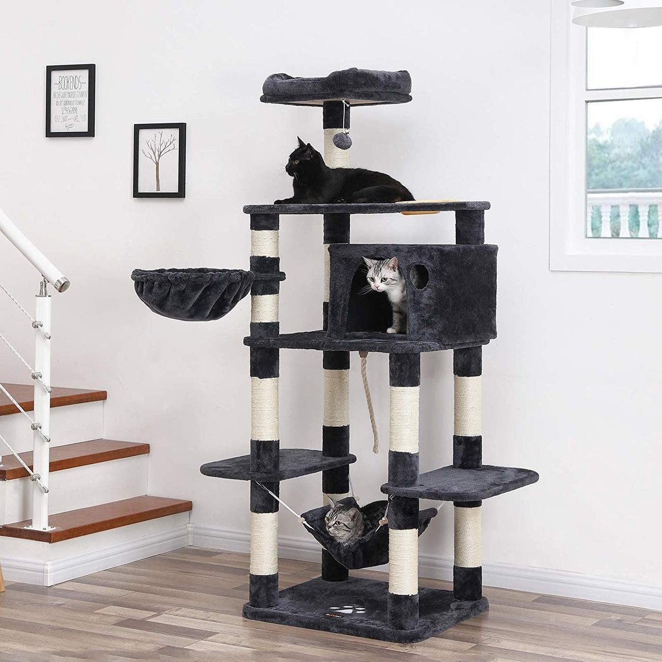 FEANDREA stabiler Kratzbaum mit Katzennapf, Bild 2