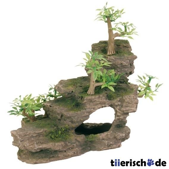 Trixie Felsentreppe mit Pflanzen für Aquarium, 19 cm