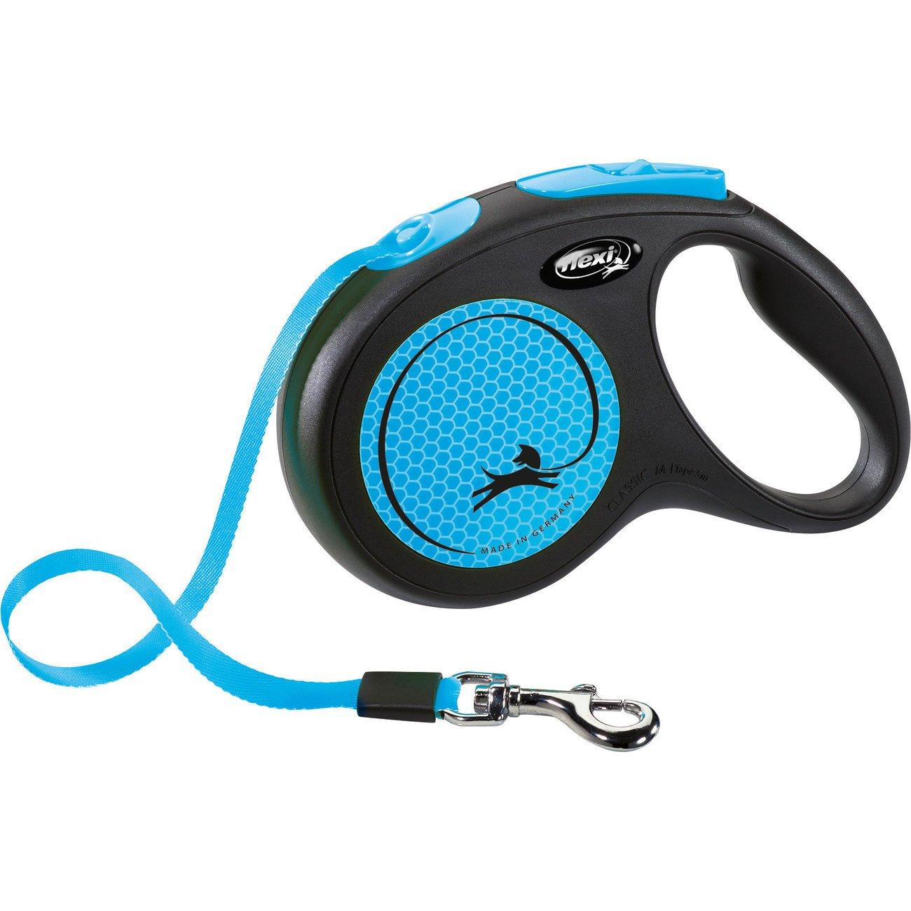 flexi New Neon Gurt Rollleine, S: 5 m, neonblau, bis zu 15 kg